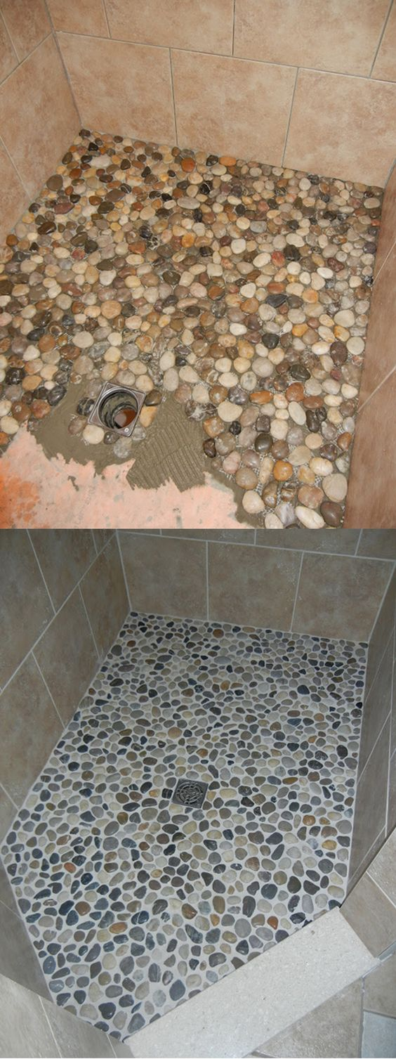 river stone walk in shower makeover