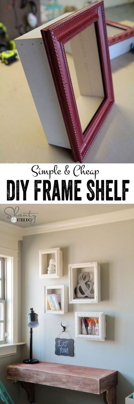 simple and cheap diy frame shelf