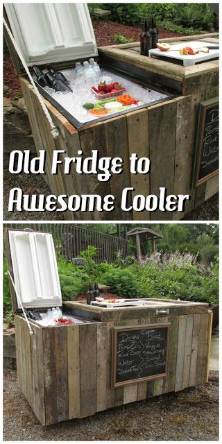 transform an old fridge into a cool cooler