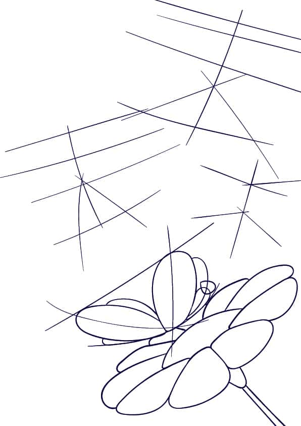 04 Learn How to Draw a Butterfly on a Flower - Cartoon Scene Step by Step Tutorial