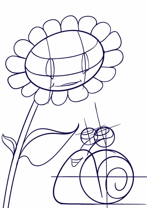 04 Learn How to Draw a Sunflower and a Snail- Cartoon Scene Step by Step Tutorial