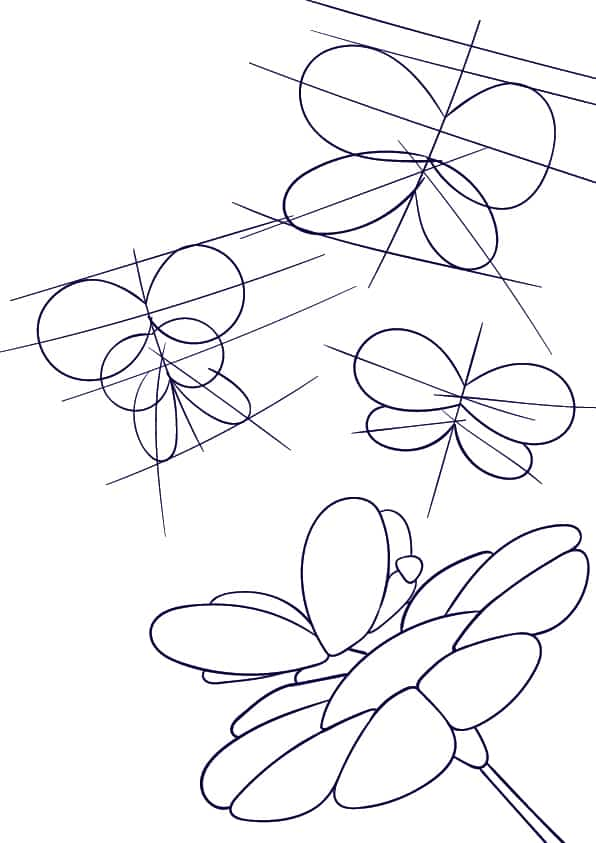 05 Learn How to Draw a Butterfly on a Flower - Cartoon Scene Step by Step Tutorial
