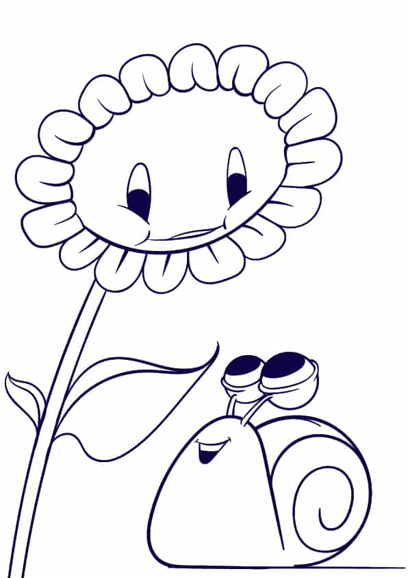 05 Learn How to Draw a Sunflower and a Snail- Cartoon Scene Step by Step Tutorial