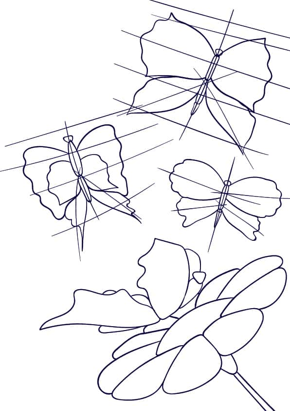 06 Learn How to Draw a Butterfly on a Flower - Cartoon Scene Step by Step Tutorial
