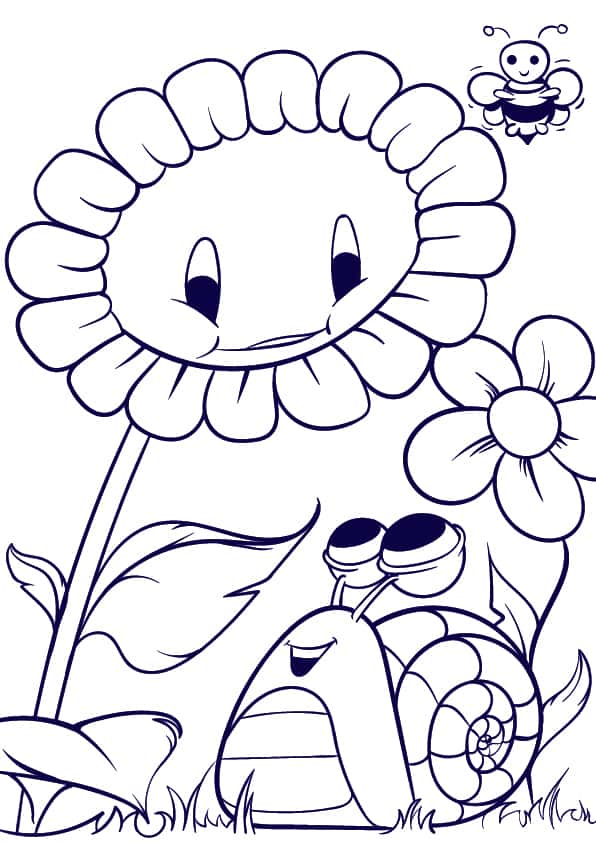 06 Learn How to Draw a Sunflower and a Snail- Cartoon Scene Step by Step Tutorial