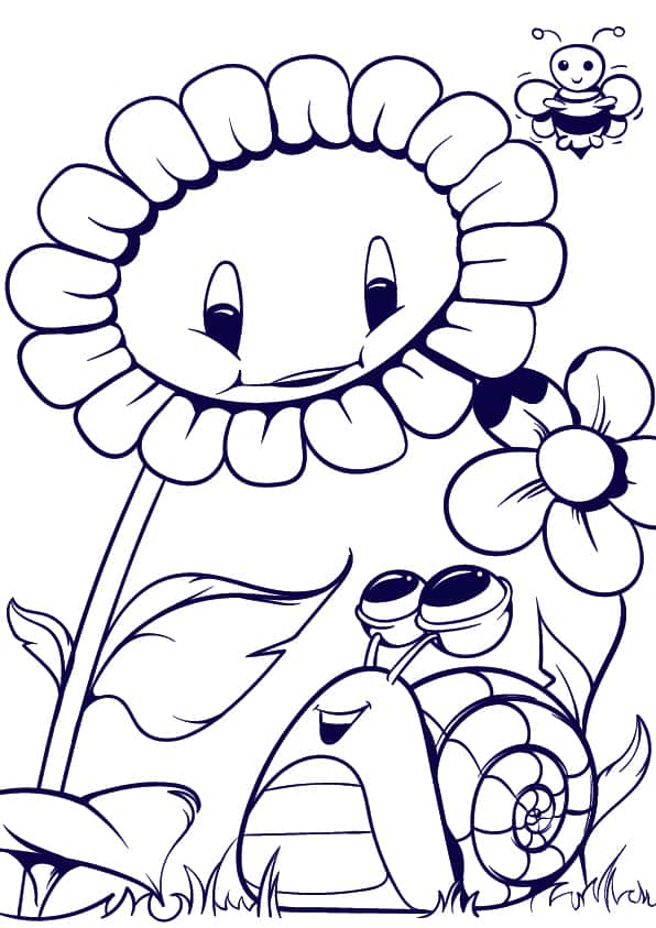 07 Learn How to Draw a Sunflower and a Snail- Cartoon Scene Step by Step Tutorial