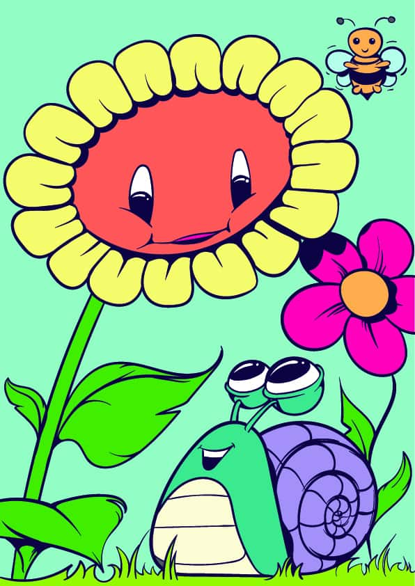 08 Learn How to Draw a Sunflower and a Snail- Cartoon Scene Step by Step Tutorial