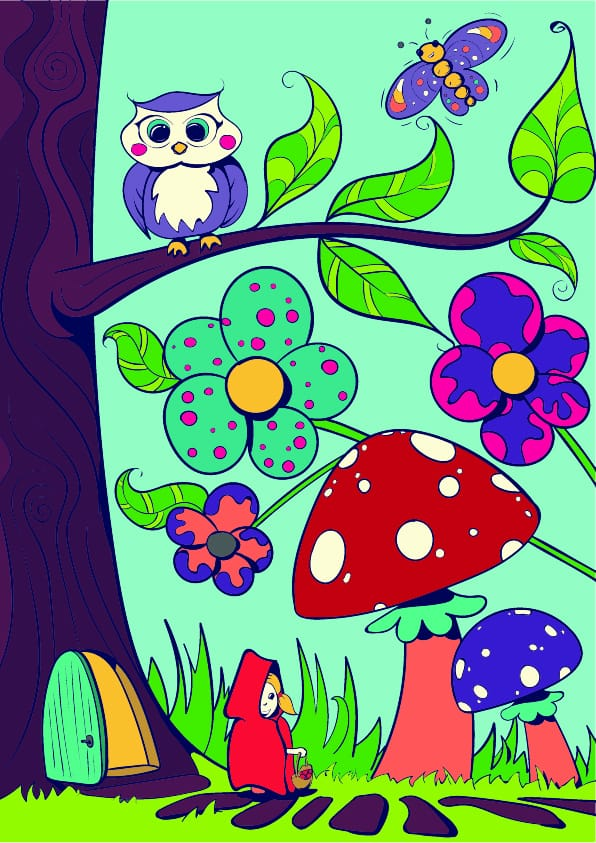 09 Learn How to Draw a Mushroom- Cartoon Scene Step by Step Tutorial
