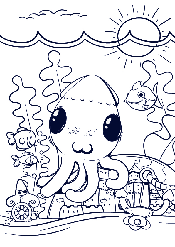 10 Learn How to Draw an Octopus - Cartoon Step by Step Tutorial