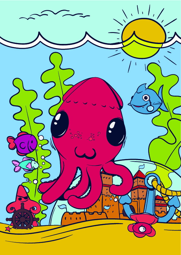 11 Learn How to Draw an Octopus - Cartoon Step by Step Tutorial
