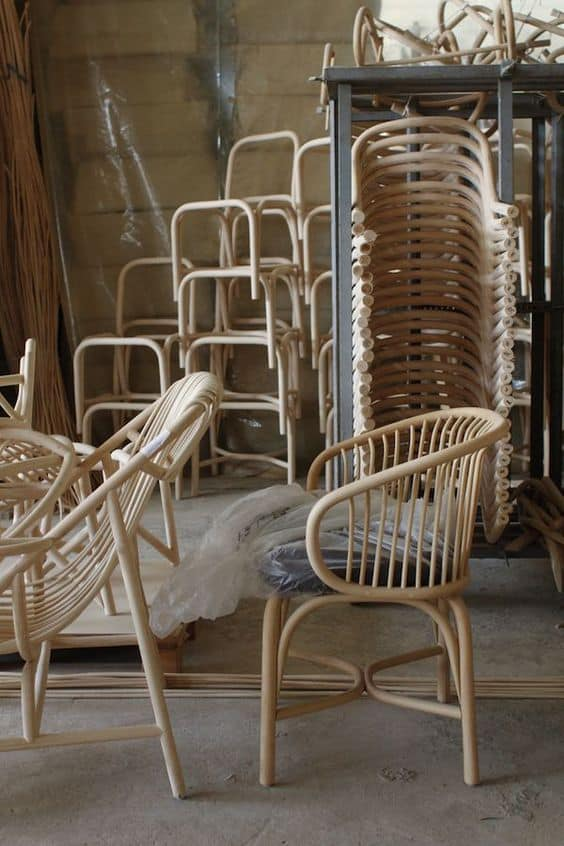 the making of rattan furniture pieces