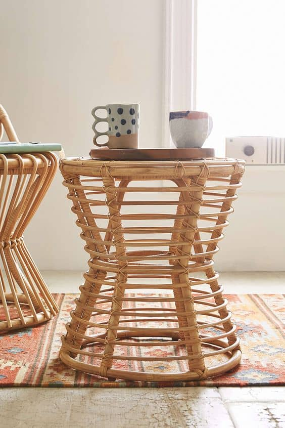 rattan chair side table