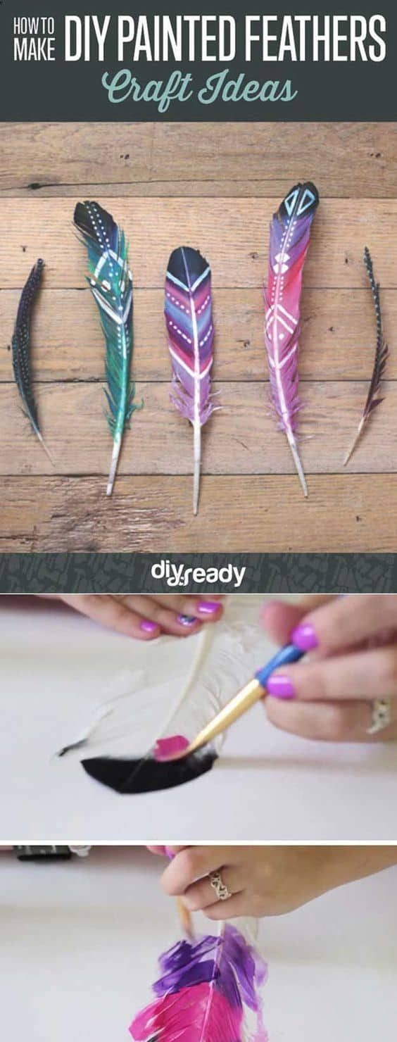 4. USE BRILLIANT DIY PAINTED FEATHERS IN YOUR DECOR
