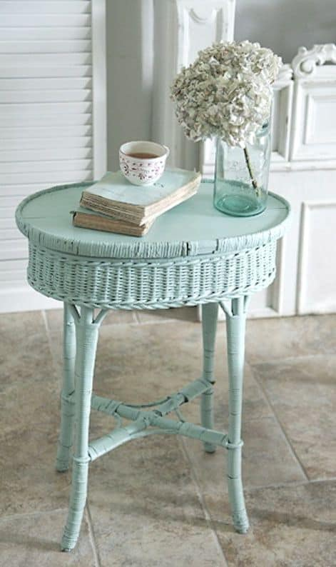 epic wicker small side table in teal