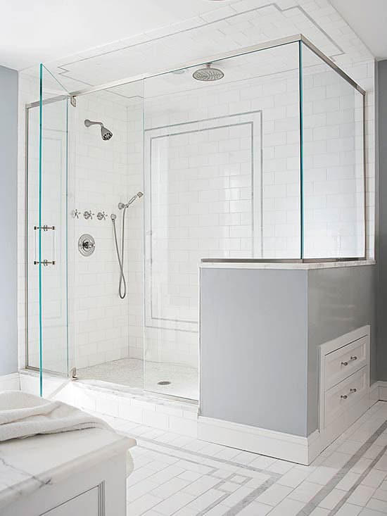 learn the pros and cons of having a walk-in shower Two Person Shower Design