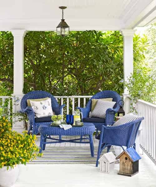 Perfect Blue Wicker Furniture Set