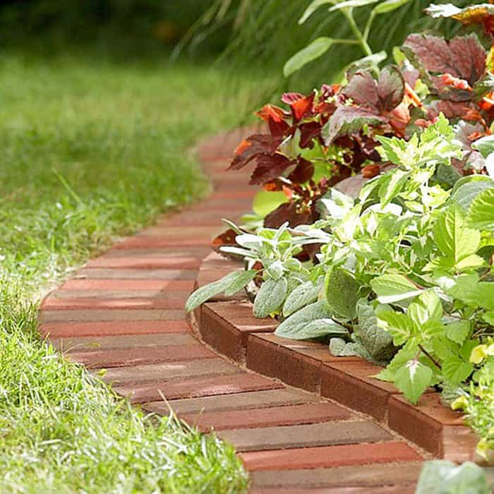 Garden Edging Realized With Bricks