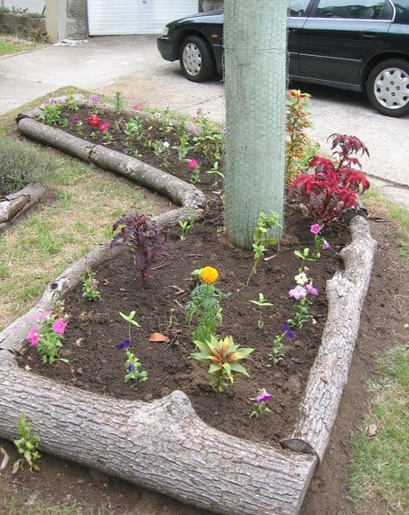 WOODEN LOGS RAISED BEDS