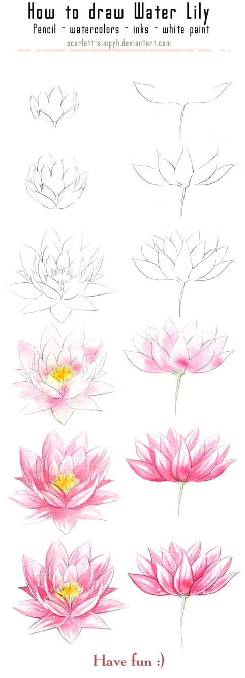 18. FILL DELICATE WATER LILIES WITH WATERCOLOR