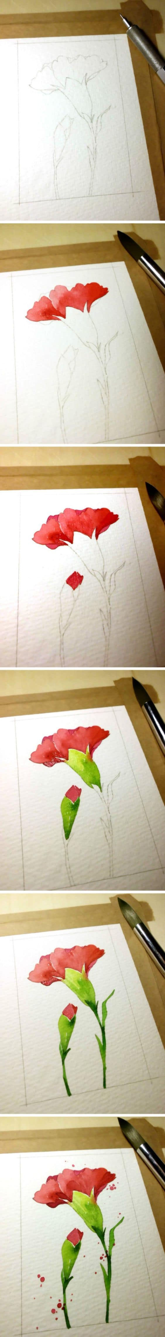 1. DRAW BRIGHT RED CARNATIONS STARTING WITH A SKETCH AND TWO BASIC TONES