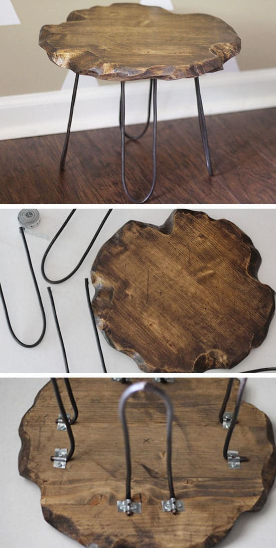 27 DIY Rustic Decor Ideas For A Cozy Home Homesthetics  : Rustic Stool with Hairpin Legs from homesthetics.net size 550 x 1090 jpeg 113kB