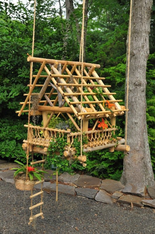 small bamboo suspended plant garden