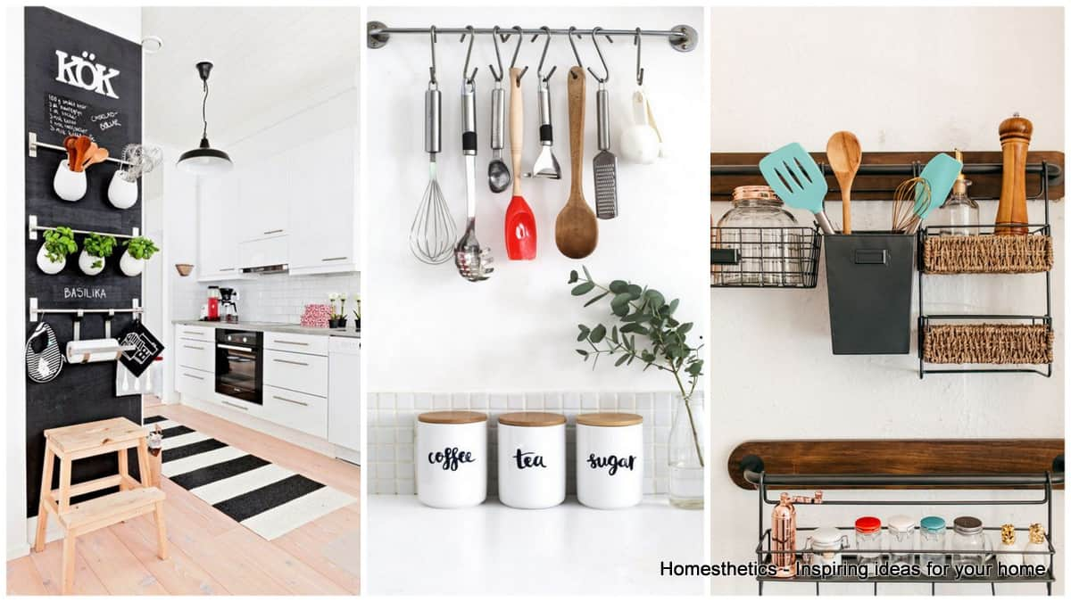 Emphasize small spaces with kitchen wall storage ideas homesthetics inspiring ideas for your - Small space bags ideas ...