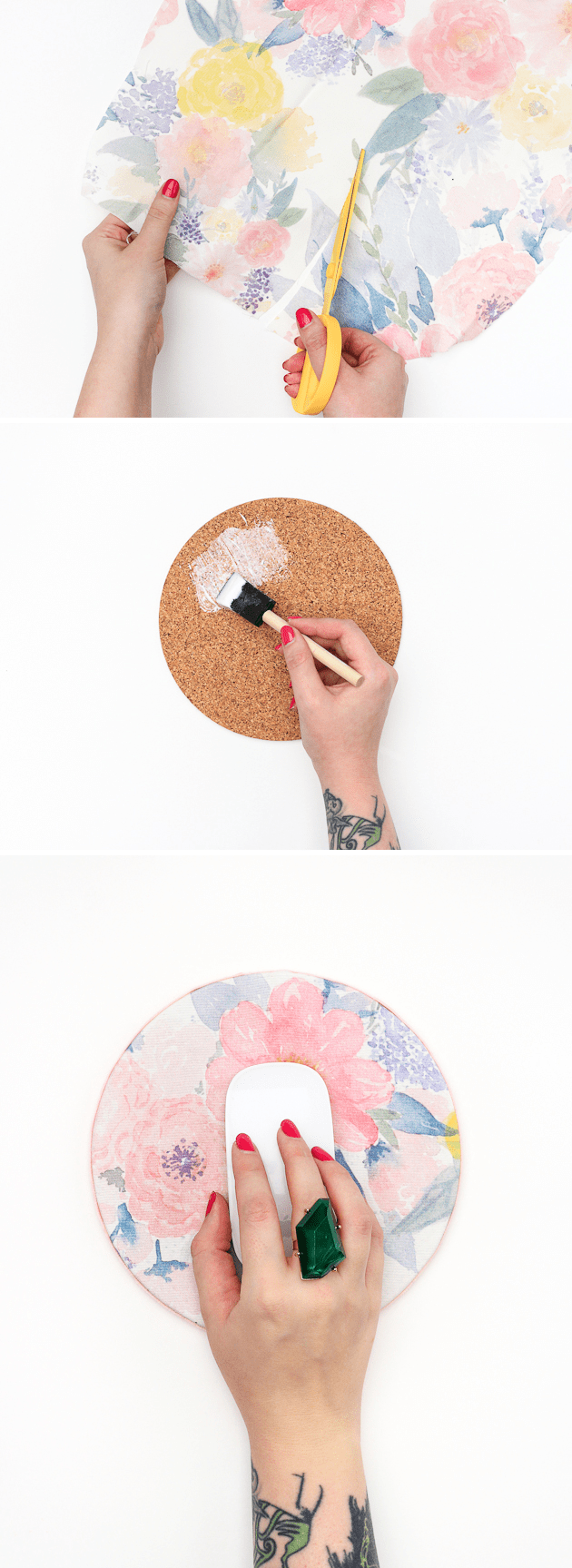 CREATE A SMALL ROUND FLOWERY MOUSE PAD