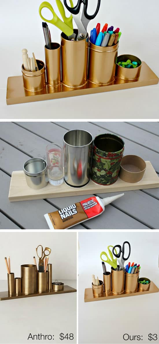 ORGANIZE OFFICE SUPPLIES WITH A TIN CAN GOLD PAINTED DESK PENCIL HOLDER