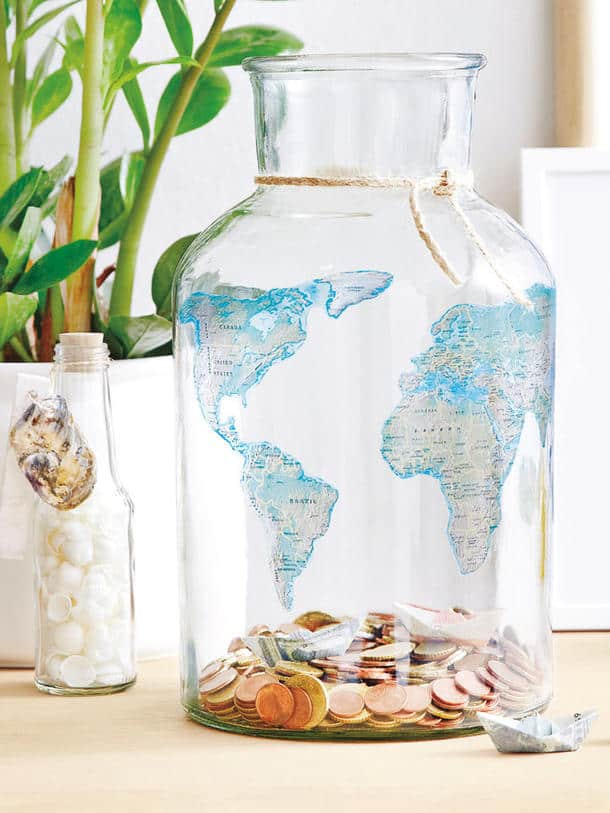 START A JAR DESIGNED FOR SAVING UP MONEY FOR UPCOMING TRIPS