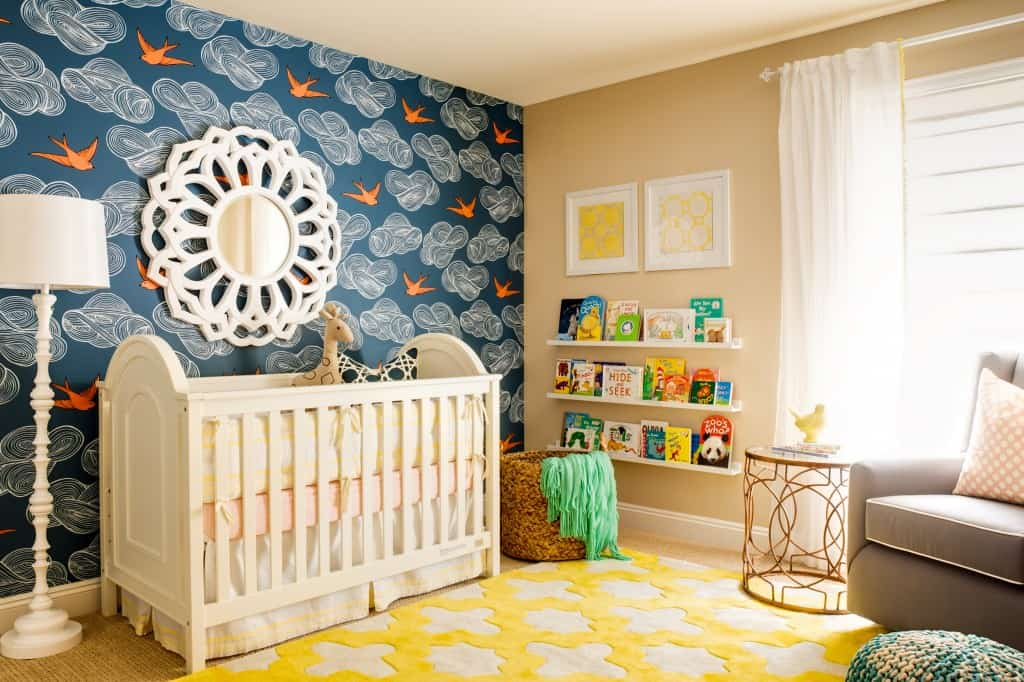 colorful-nursery-room-accent-wallpaper-and-yellow-carpet