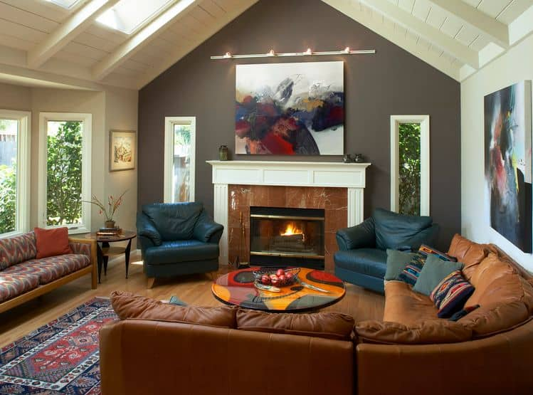 corner-brown-sofa-and-accent-wall-behind-fireplace
