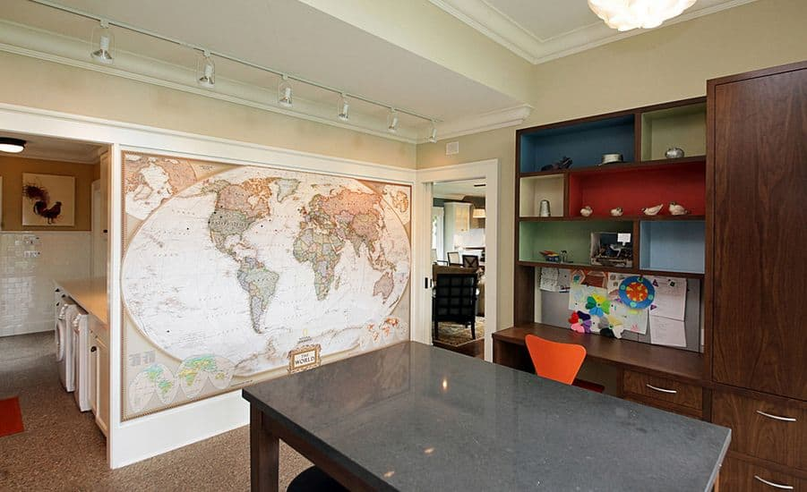 Good Wall Map Dining Room Accent Wall
