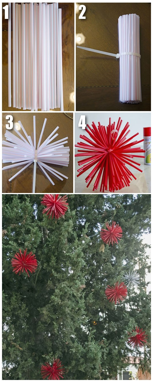 15.-Make-extra-large-ornaments-with-straws-and-spray-paint.-Awesome-DIY-Christmas-decor-idea-29-Cool-Spray-Paint-Ideas-That-Will-Save-You-A-Ton-Of-Money