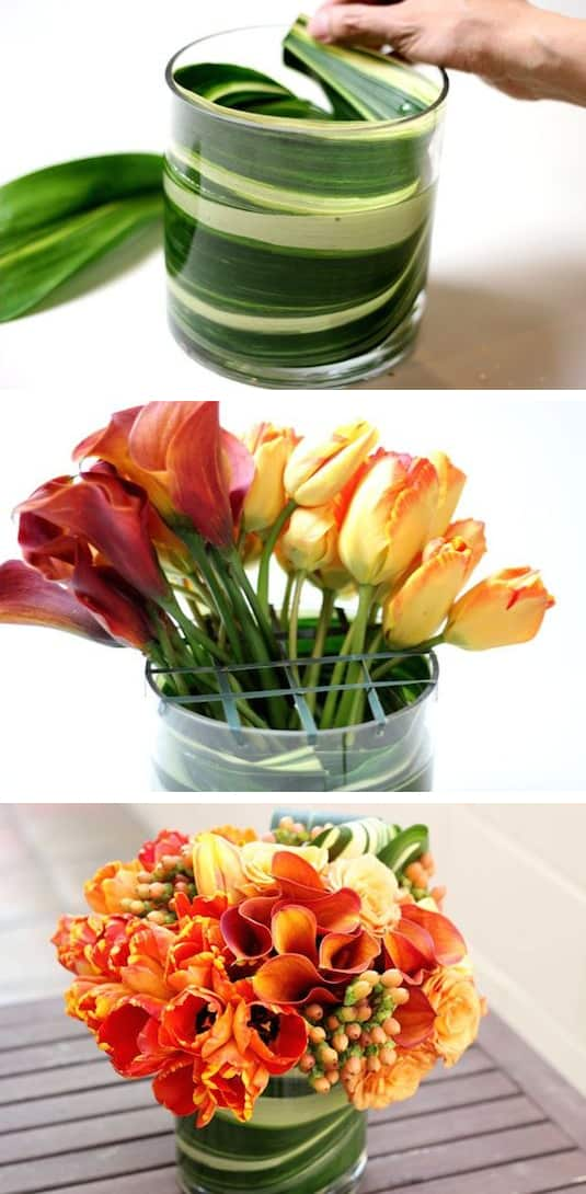 6.-Use-large-leaves-to-disguise-floral-foam-and-stems.-13-Clever-Flower-Arrangement-Tips-Tricks