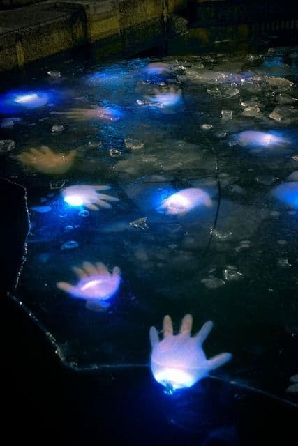 7. PLANT GLOVES WITH GLOW STICKS IN YOUR POND