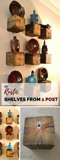 DIY rustic shelves from wooden block