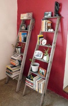 Cheap bookshelves designed with wooden ladders