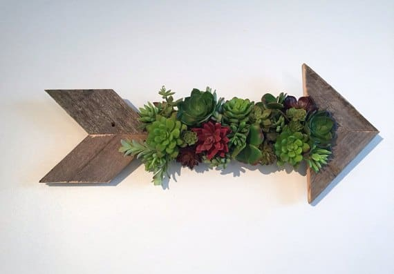 USE PALLET WOOD TO CREATE A SUCCULENT FILLED ARROW FOR YOUR WALLS