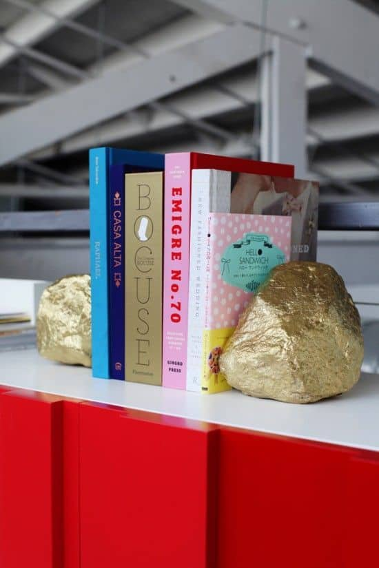 Gold-painted-bookends