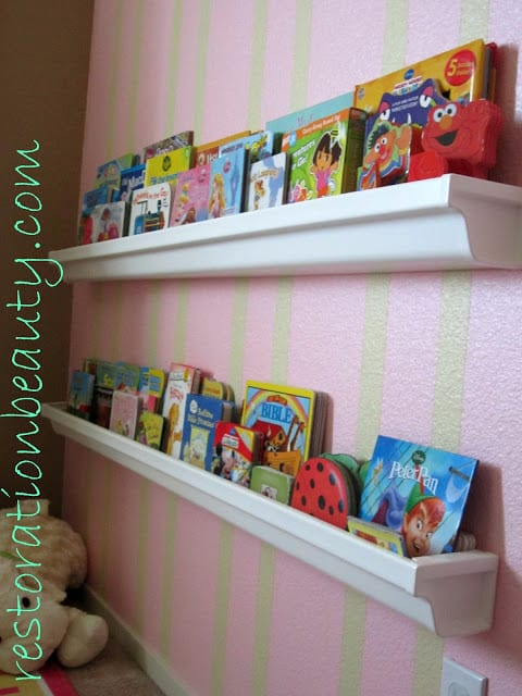 Plastic rain-gutters can become great shelves