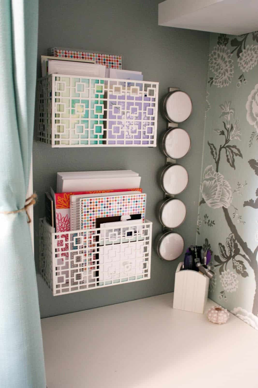 Perfect Organization bins for cubicle decor