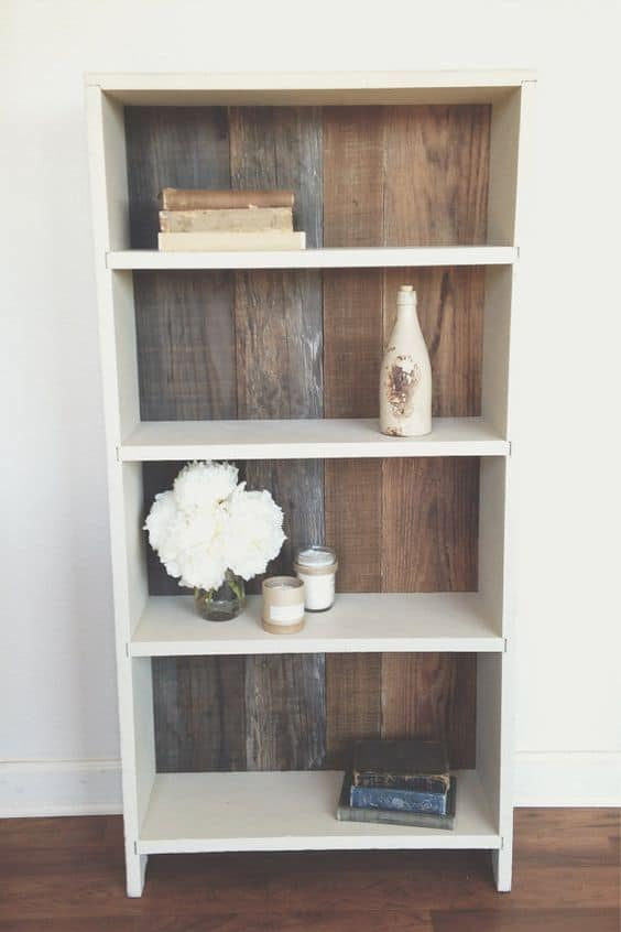 Reshape a plane bookshelves with wooden textures
