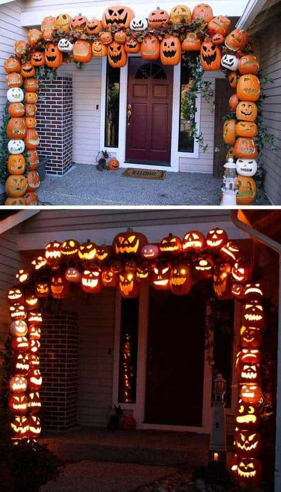 border your porch with frightening pumpkins