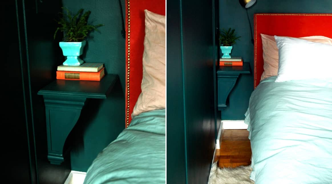 Small Bedside Table Ideas Part - 37: Green-bedroom-small-space-for-nightstand