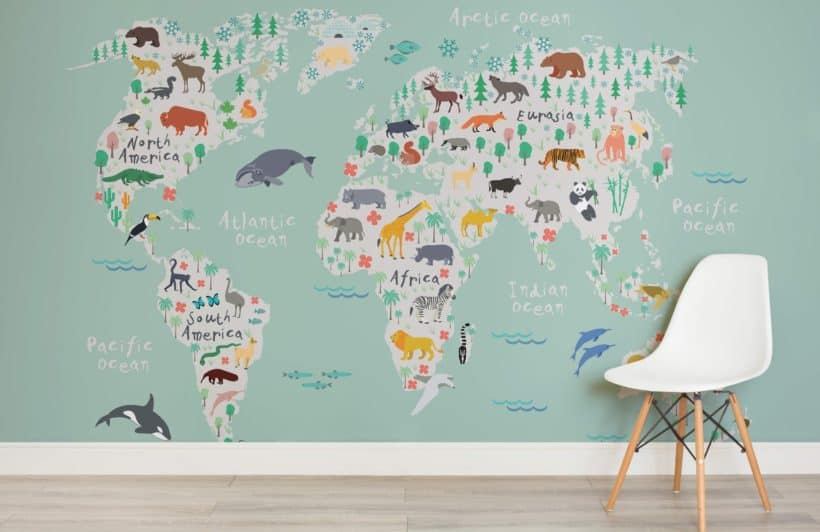 Beautiful safari map childrens room x
