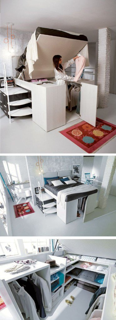 7. One room apartment a smart storage - sleeping solution is ideal