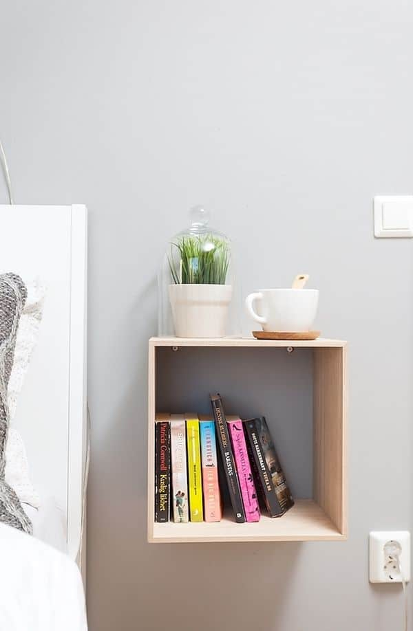 Charming Small Bedside Table Ideas Part - 7: Square-boxe-nightstand