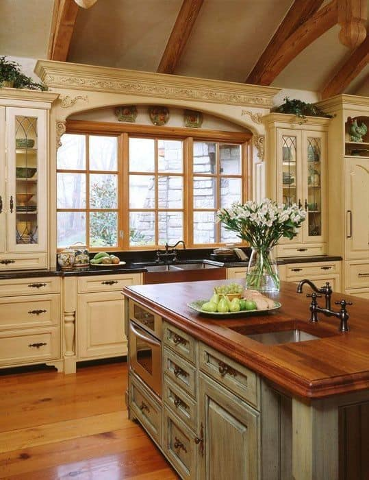 Majestic french country kitchen designs homesthetics for French blue kitchen ideas