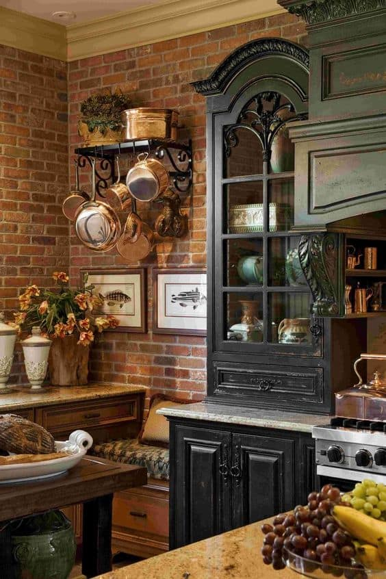 dark modern country kitchen. bricks and dark hues in a wonderful mix Majestic French Country Kitchen Designs  Homesthetics Inspiring